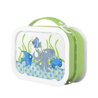 Cartoon Octopus Crab Fish Under the Sea Lunch Box