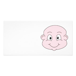 Cartoon of a cute baby, smiling. photo card template