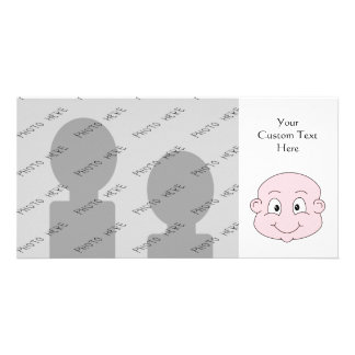 Cartoon of a cute baby, smiling. photo card
