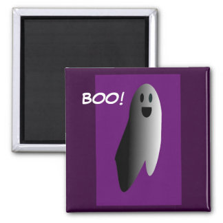 Cartoon of a Friendly Ghost Square Magnet