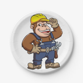 Cartoon of a Gorilla Handyman 7 Inch Paper Plate
