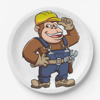 Cartoon of a Gorilla Handyman 9 Inch Paper Plate