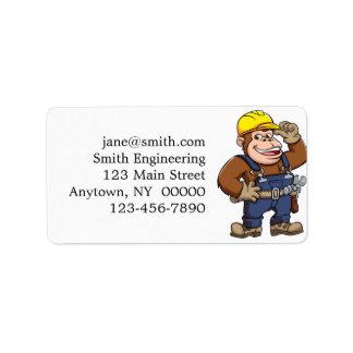 Cartoon of a Gorilla Handyman Address Label