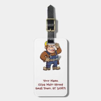 Cartoon of a Gorilla Handyman Bag Tag