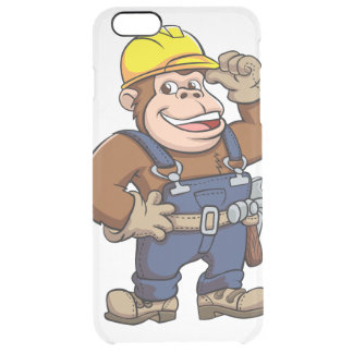 Cartoon of a Gorilla Handyman Clear iPhone 6 Plus Case