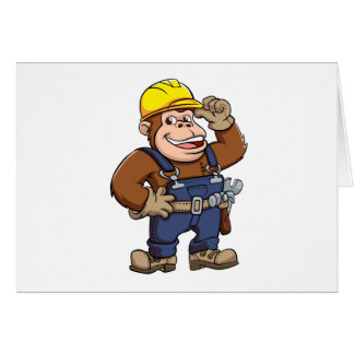 Cartoon of a Gorilla Handyman Greeting Card