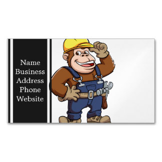 Cartoon of a Gorilla Handyman Magnetic Business Cards