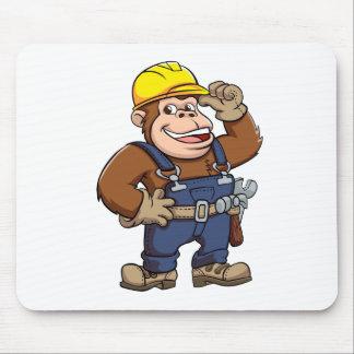 Cartoon of a Gorilla Handyman Mouse Pad