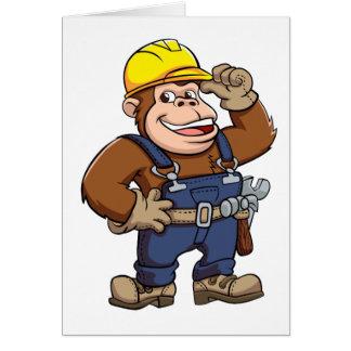 Cartoon of a Gorilla Handyman Note Card