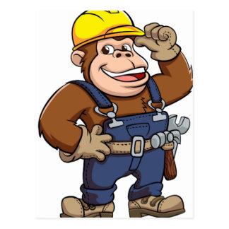 Cartoon of a Gorilla Handyman Postcard