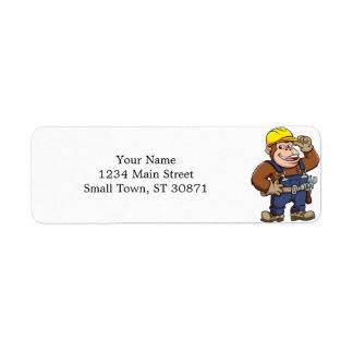Cartoon of a Gorilla Handyman Return Address Label