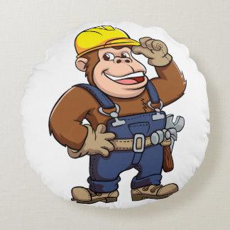 Cartoon of a Gorilla Handyman Round Cushion
