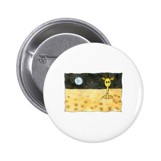 Cartoon of a lost giraffe. 6 cm round badge