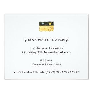 Cartoon of a lost giraffe. 11 cm x 14 cm invitation card