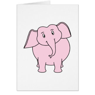 Cartoon of a Pink Elephant Card