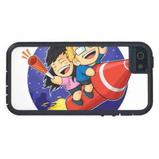 Cartoon of Boy & Girl Riding New Year Firework iPhone 5 Case