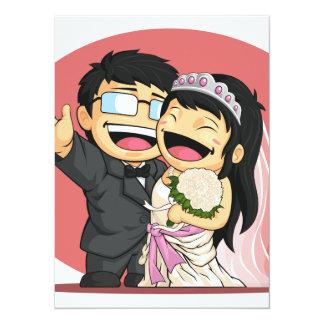 Cartoon of Happy Wedding Bride & Groom 14 Cm X 19 Cm Invitation Card