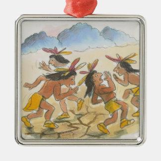 Cartoon of Native American men performing rain Metal Ornament