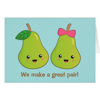 Cartoon of Pair of Pears with cute expressions Card