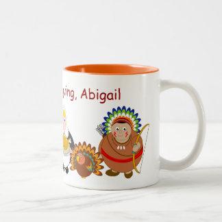 Cartoon of Pilgrim Fathers and American Indians, Two-Tone Coffee Mug