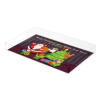 Cartoon of Santa Claus delivering Christmas gifts, Acrylic Tray