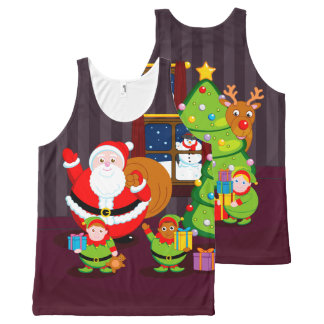 Cartoon of Santa Claus delivering Christmas gifts, All-Over Print Singlet