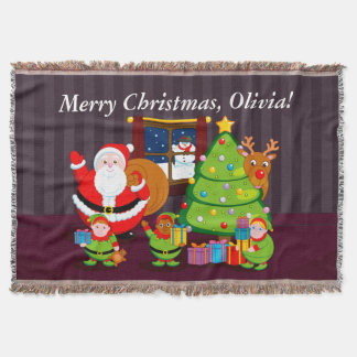 Cartoon of Santa Claus delivering Christmas gifts, Throw Blanket