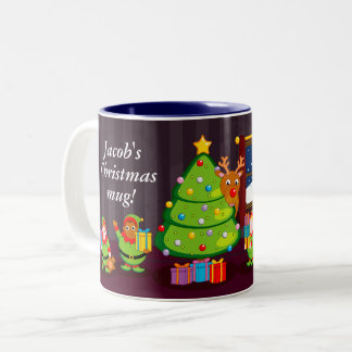 Cartoon of Santa Claus delivering Christmas gifts, Two-Tone Coffee Mug