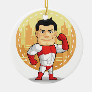 Cartoon of Superhero Ceramic Ornament