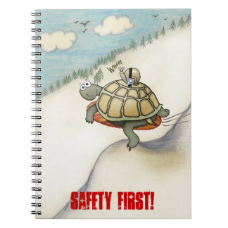 cartoon of tortoise and snail with seat belt notebook