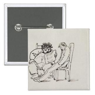 Cartoon of William Morris 1834-96 reading poetry Pinback Button