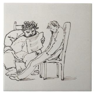Cartoon of William Morris (1834-96) reading poetry Large Square Tile