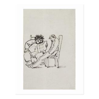 Cartoon of William Morris (1834-96) reading poetry Postcard