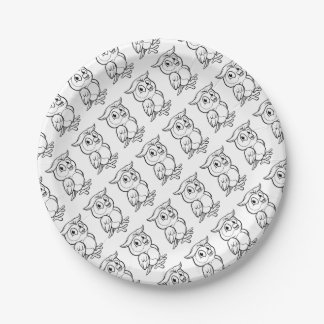 Cartoon Owl Character Paper Plate