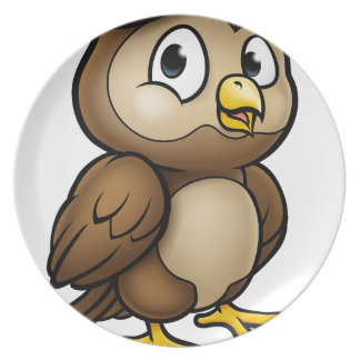 Cartoon Owl Character Plate