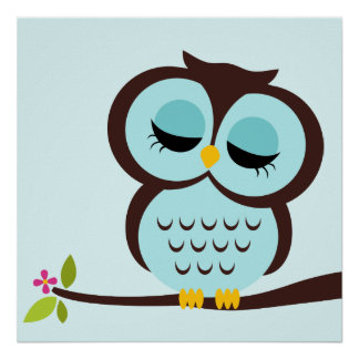 Cartoon Owl Children s Wall Art Print