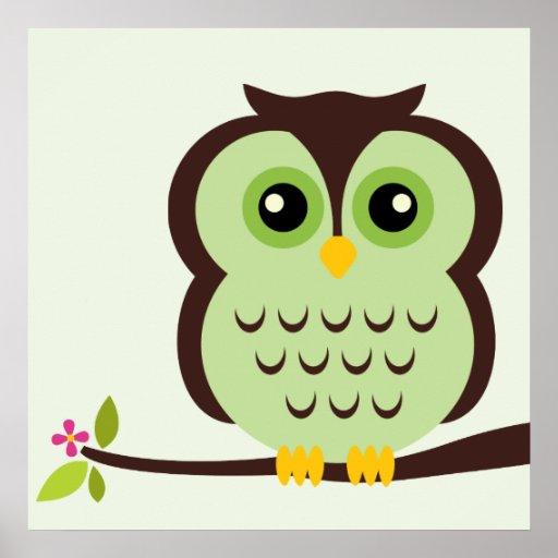 Cartoon Owl Children's Wall Art Posters