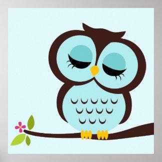 Cartoon Owl Children's Wall Art Poster