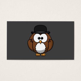 Cartoon Owl in Bowler Hat with Grey Background