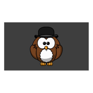 Cartoon Owl in Bowler Hat with Grey Background Pack Of Standard Business Cards