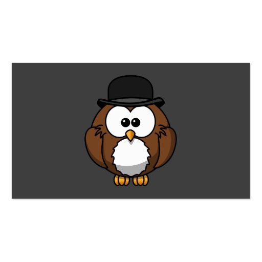 Cartoon Owl in Bowler Hat with Grey Background Business Card