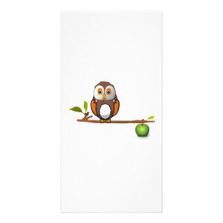 Cartoon Owl on Branch Photo Greeting Card
