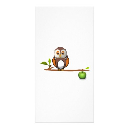 Cartoon Owl on Branch Photo Greeting Card
