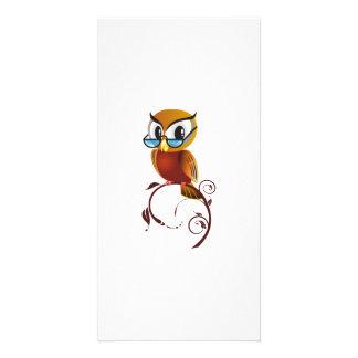 Cartoon Owl on Branch Custom Photo Card