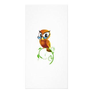 Cartoon Owl on Green Branch Customized Photo Card