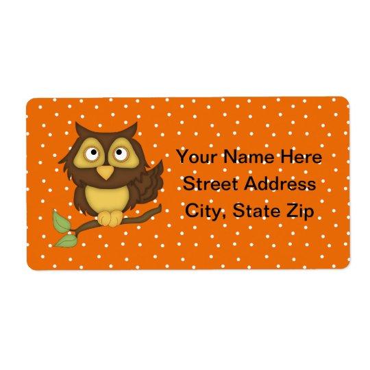 Cartoon Owl (tan) Shipping Label