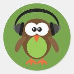 Cartoon Owl With Headphones Round Sticker