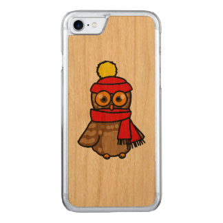 cartoon owl with red hat and winter scarf carved iPhone 8/7 case