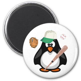 Cartoon Paddy Penguin Baseball Hat Bat Sports Magnets
