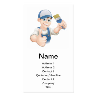 Cartoon painter decorator business cards